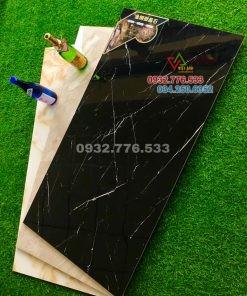 Bộ gạch 60×120 màu đen vân sọc trắng hàng nhập khẩu